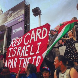 Banner Action at Israel v. Honduras match